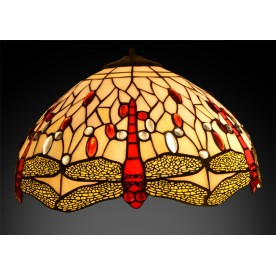 "Beige Dragonfly Tiffany Pendant 16"""