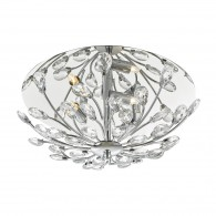 Zafir 3 Light Flush Flora Crystal Decoration - Chrome Frame