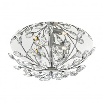 Zafir 3 Light Flush Flora Crystal Decoration - Chrome Frame