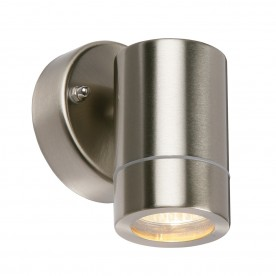 Palin 1lt wall IP44 7W - brushed stainless steel