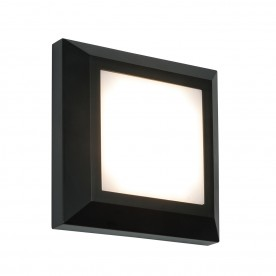Severus square direct IP65 3W warm white wall - black abs plastic
