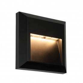 Severus square indirect IP65 1.1W warm white wall - black abs plastic