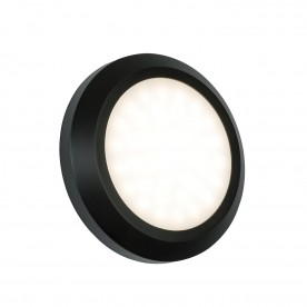 Severus round direct IP65 2W warm white wall - black abs plastic
