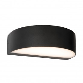 Kempton arc IP44 4.5W warm white wall - textured matt black