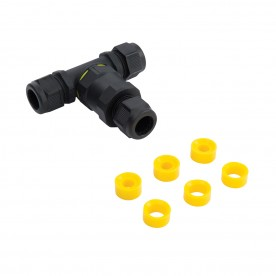Inline IP68 connector tee IP68 accessory - black nylon