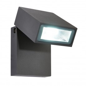 Morti single IP44 10W cool white wall - textured dark matt anthracite