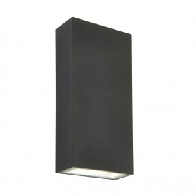 Morti twin IP44 5.5W cool white wall - textured dark matt anthracite