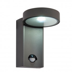 Oreti PIR IP44 10W cool white wall - textured dark matt anthracite