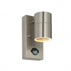 Palin PIR 1lt wall IP44 7W - brushed stainless steel
