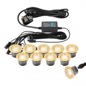IkonPRO 45mm kit IP67 0.75W warm white recessed - brass plate