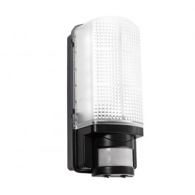 Motion LED PIR 1lt wall IP44 6W daylight white - frosted pc