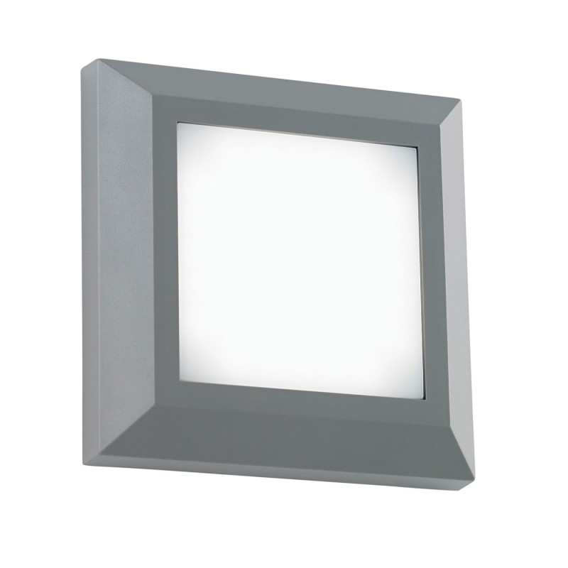 Severus square direct IP65 3W warm white wall - grey abs plastic