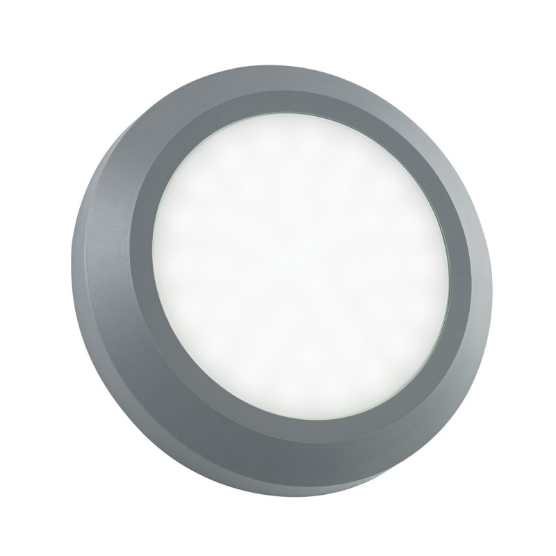 Severus round direct IP65 2W warm white wall - grey abs plastic