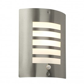 Bianco PIR 1lt wall IP44 60W - brushed stainless steel