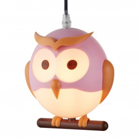NOVELTY CHILDRENS OWL PENDANT PINK