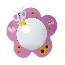 NOVELTY CHILDRENS FLOWER MIRROR WALL LIGHT PINK