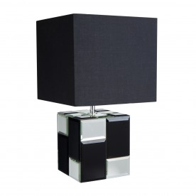 Chequered Cube Table Lamp Mirror/Black