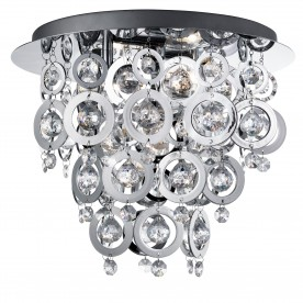 NOVA -  3LT CEILING FLUSH CHROME CLEAR ACRYLIC BALLS CHROME ACRYLIC RINGS