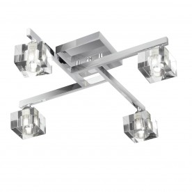 SCULPTURED ICE - 4LT CEILING FLUSH CHROME CLEAR GLASS