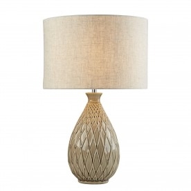CADENCE TABLE LAMP - NEUTRAL CERAMIC BASE HESSIAN SHADE