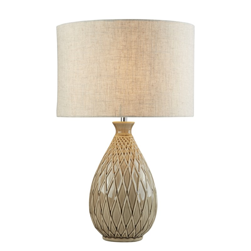 CADENCE TABLE LAMP - NEUTRAL CERAMIC BASE HESSIAN SHADE