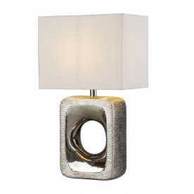 GRANGE TABLE LAMP - SILVER ETCHED BASE WHITE SHADE