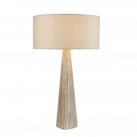 BARK TABLE LAMP WASH BROWN BASE OATMEAL SHADE