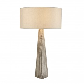 BARK TABLE LAMP WASH GREY BASE OATMEAL SHADE