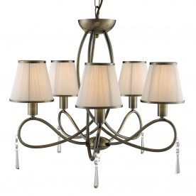 SIMPLICITY - 5LT CEILING ANTIQUE BRASS CLEAR GLASS CREAM STRING SHADES