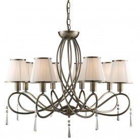 SIMPLICITY - 8LT CEILING ANTIQUE BRASS CLEAR GLASS CREAM STRING SHADES