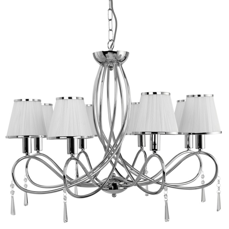 SIMPLICITY - 8LT CEILING CHROME CLEAR GLASS WHITE STRING SHADES