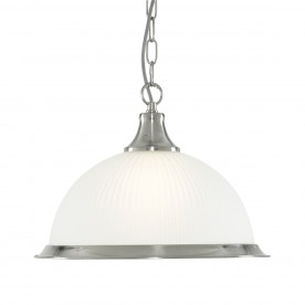 DELTA - 1LT PENDANT SATIN SILVER ACID GLASS