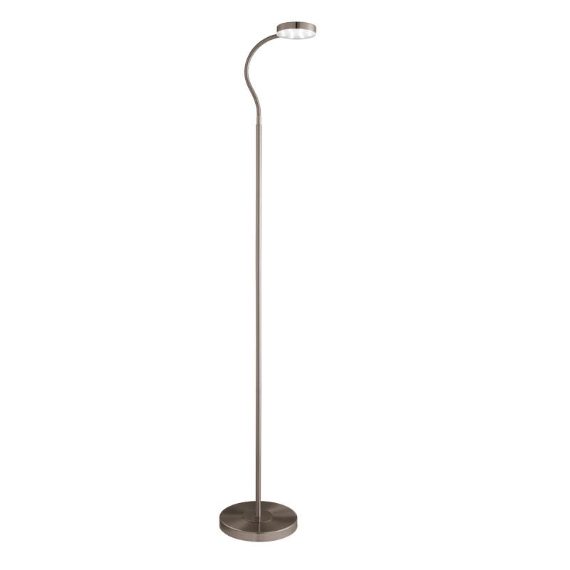 FLOOR LAMP ADJUSTABLE LED ROUND FLEXI-HEAD ANTIQUE BRASS