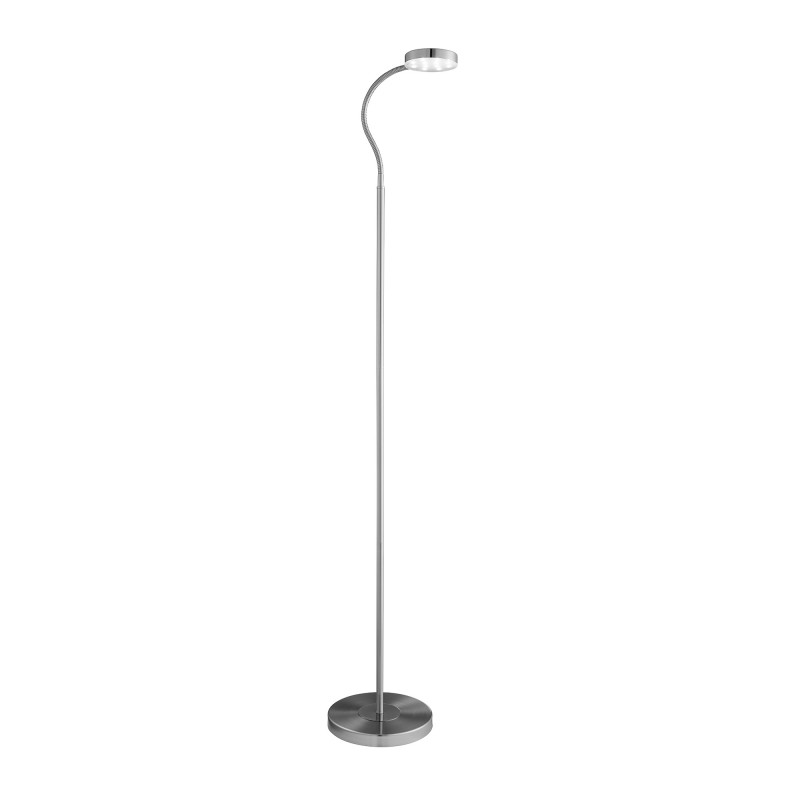 FLOOR LAMP ADJUSTABLE LED ROUND FLEXI-HEAD SATIN SILVER
