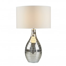 CLAYTON TABLE LAMP MIRROR TILED BASE WHITE SHADE