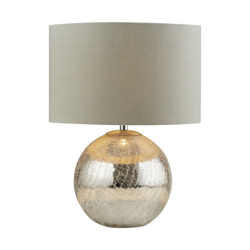 DAZZLE TABLE LAMP CRACKED MIRROR EFFECT BASE GREY SHADE