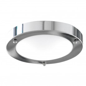 BATHROOM IP44  1LT - 31cm CHROME DOMED WHT GLASS FLUSH
