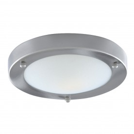 BATHROOM IP44 1LT - 31cm SAT/SILVER DOMED WHT GLASS FLUSH