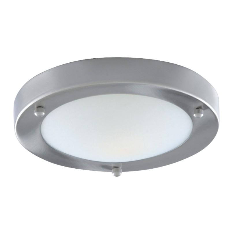 BATHROOM IP44 1LT - 31cm SAT/SILVER DOMED WHT GLASS FLUSH