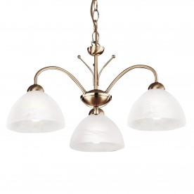 MILANESE - 3LT CEILING ANTIQUE BRASS ALABASTER GLASS