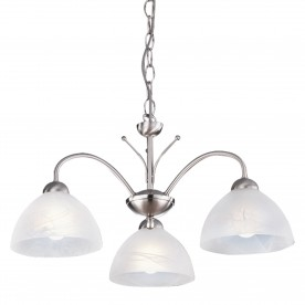MILANESE - 3LT CEILING SATIN SILVER ALABASTER GLASS
