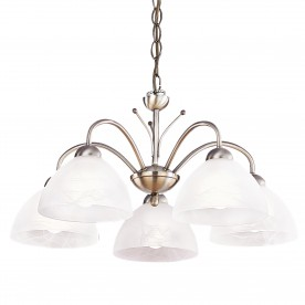 MILANESE - 5LT CEILING ANTIQUE BRASS ALABASTER GLASS