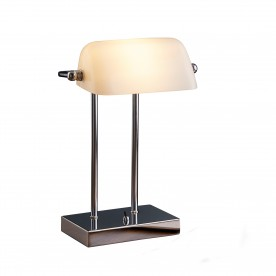 BANKERS LAMP - CHROME WHITE GLASS