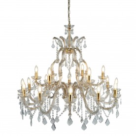 MARIE THERESE - 18LT CHANDELIER POLISHED BRASS CLEAR CRYSTAL
