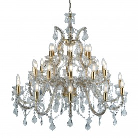 MARIE THERESE - 30LT CHANDELIER POLISHED BRASS CLEAR CRYSTAL