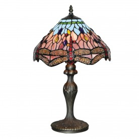 DRAGONFLY - 1LT TABLE LAMP ANTIQUE BRASS TIFFANY GLASS