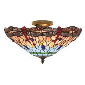 DRAGONFLY - 1LT S/FLUSH CEILING ANTIQUE BRASS TIFFANY GLASS