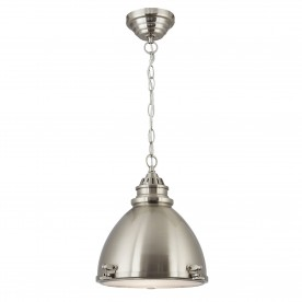 METAL PENDANT - DOME CAGE PENDANT - 1LT SATIN NICKEL DOME WITH FROSTED GLASS DIFFUSER