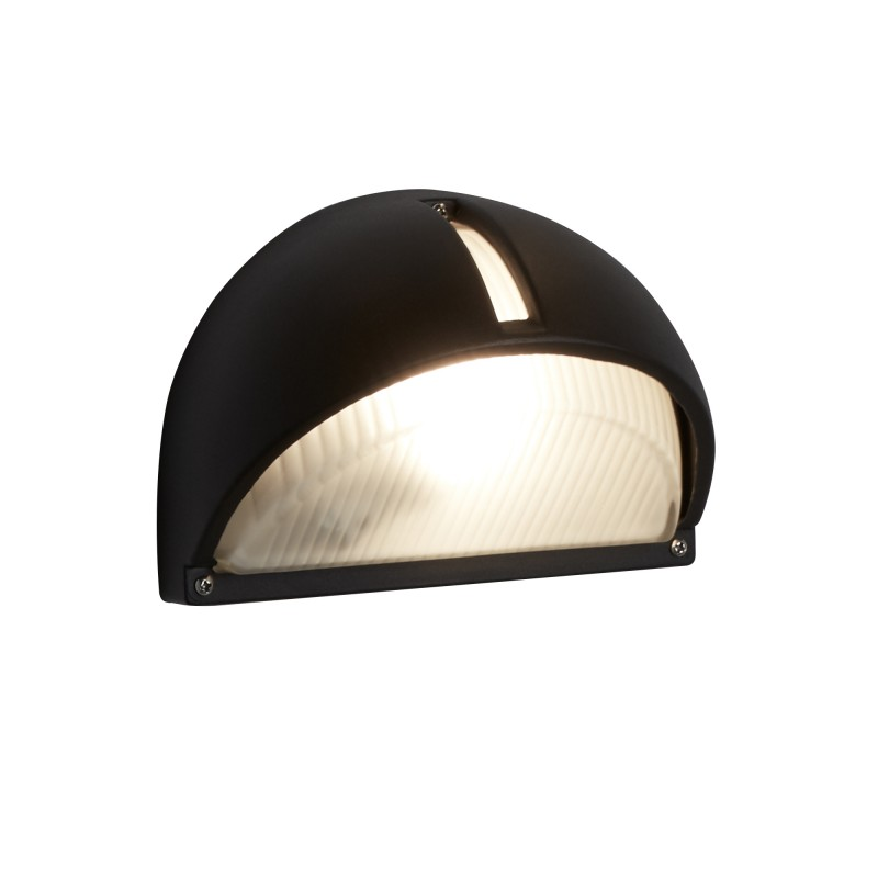 OUTDOOR & PORCH - HALF-MOON WALL BRACKET BLACK FROSTED GLASS