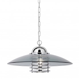 HATTIE  1LT CHROME COOLIE PENDANT WITH SMOKEY GLASS SHADE